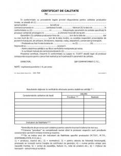 P039 Certificat de calitate