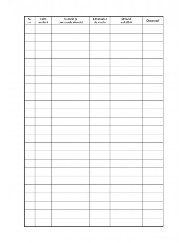C008a Registru pentru evidenta adeverintelor de elevi emise