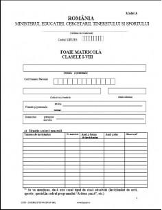 C070b Foaie matricola pentru clasele I-VIII (tip A, pentru absolventii scolilor de stat)