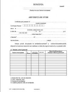 C077 Adeverinta de studii (tip B, învatamant particular)