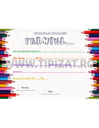 D007f Diploma de acordare a premiului
