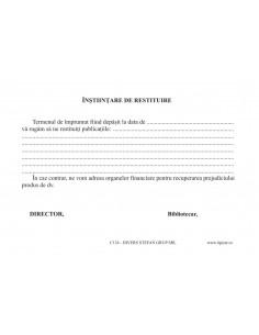 C124 Înstiintare de restituire a publicatiilor împrumutate