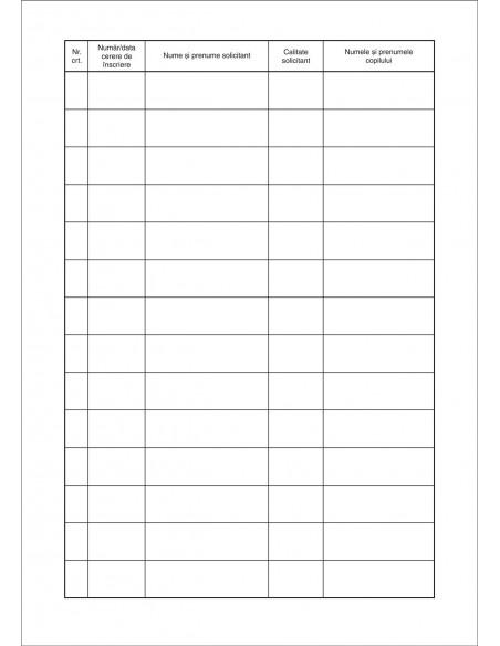 C005a Registru - cerere de inscriere in clasa pregatitoare, clasa I - coperta carton subtire (duplex), culoare alba