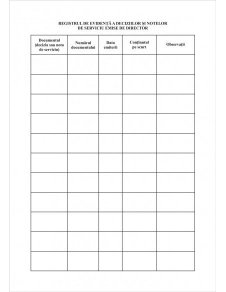 SS12 Registru de evidenta a deciziilor si notelor de serviciu emise de director - coperta imitatie piele